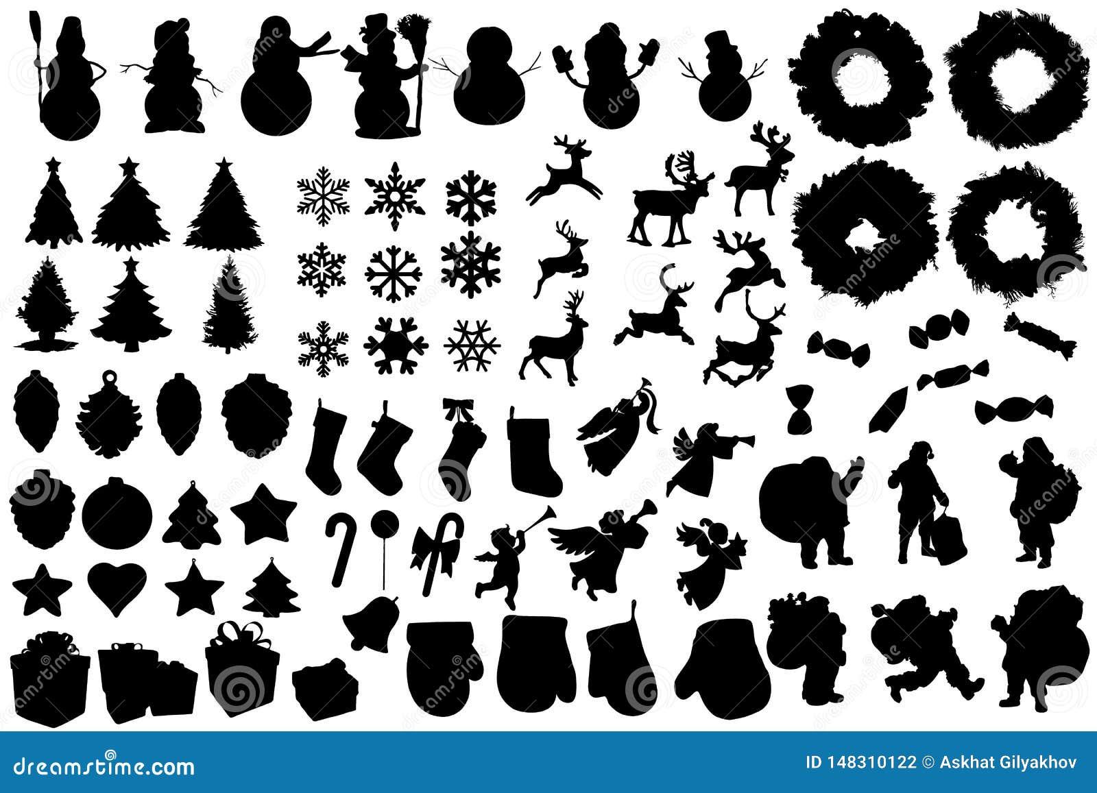 Ställ in av vinter- och julkonturer Alla element is lager separat i vektormapp Gemkonst för banret, reklamblad, affär, kort, affi
