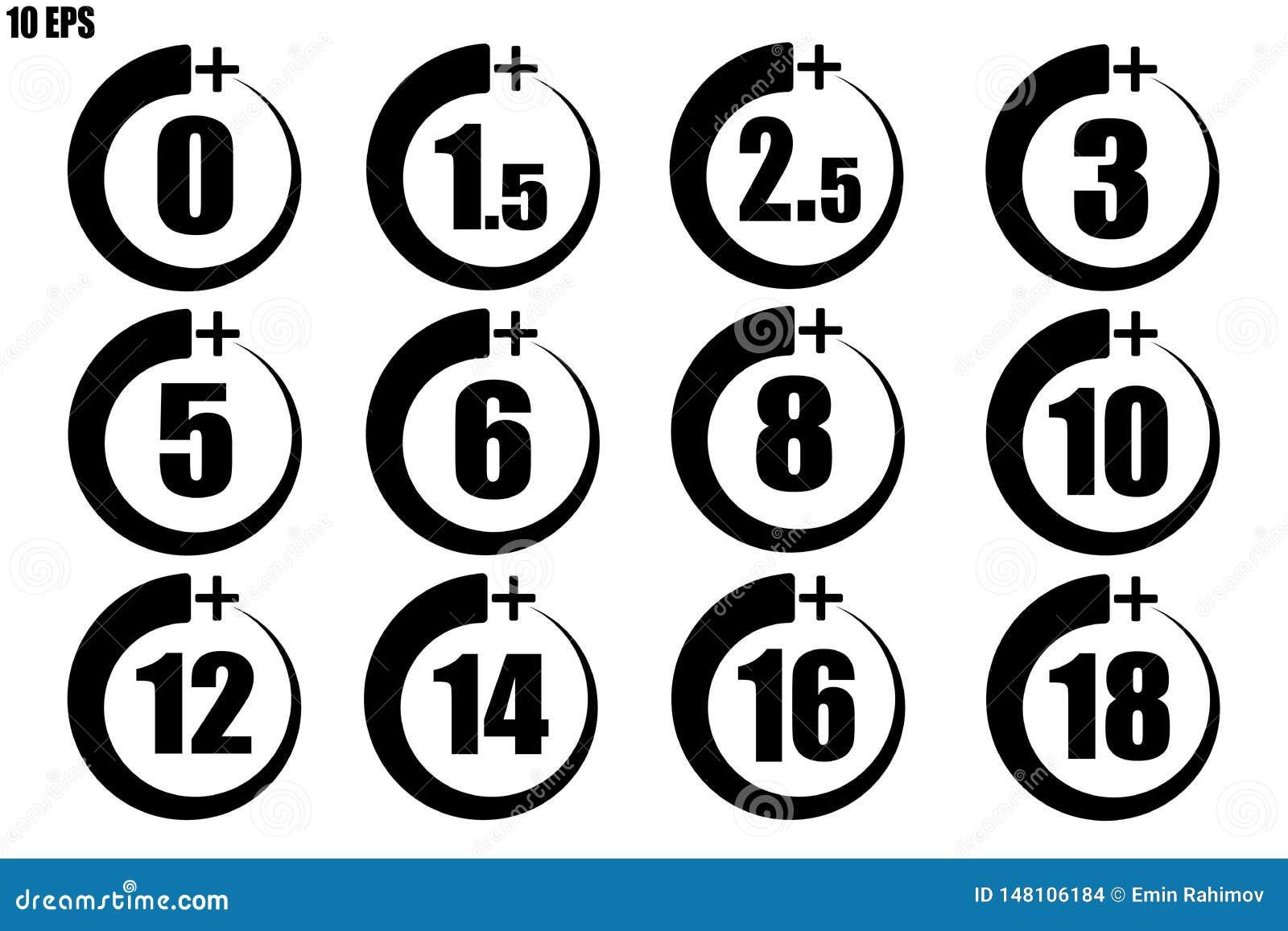 Ställ in av vuxen symbol över 0 till 18 år gammal svart tunn linje