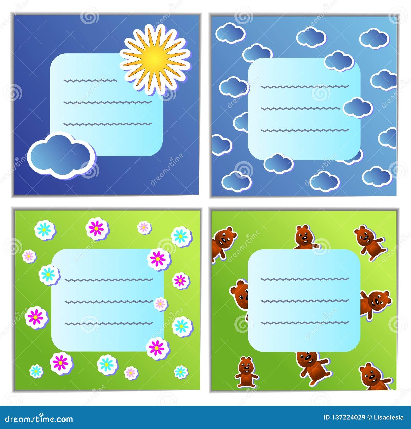 Ställ in den blåa och gröna vykortet för ferie för design för illustration för tecknad film för den Groundhog dagen Andra Februar