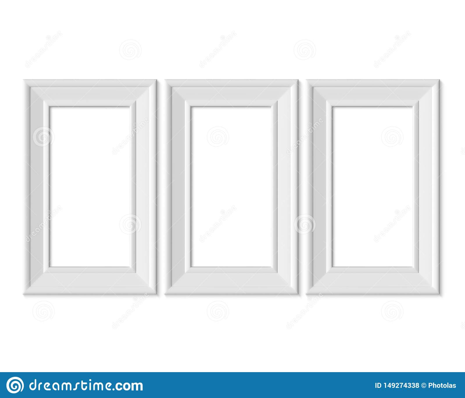 Ställ in den vertikala för bildramen för ståenden 3 1x2 modellen Realisitc pappers-, trä eller plast- vitt mellanrum Isolerad aff
