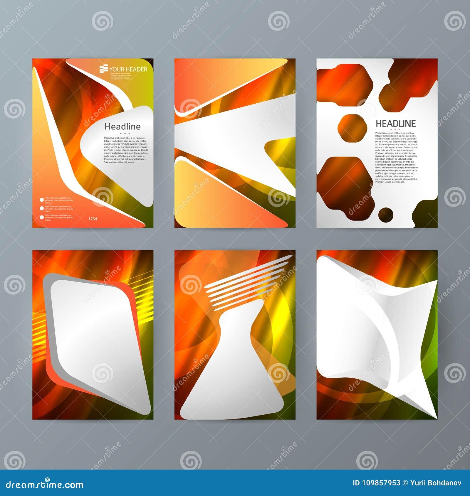 Ställ in för den vertikala varmt glöd effect03 broschyrmodellen för mallar
