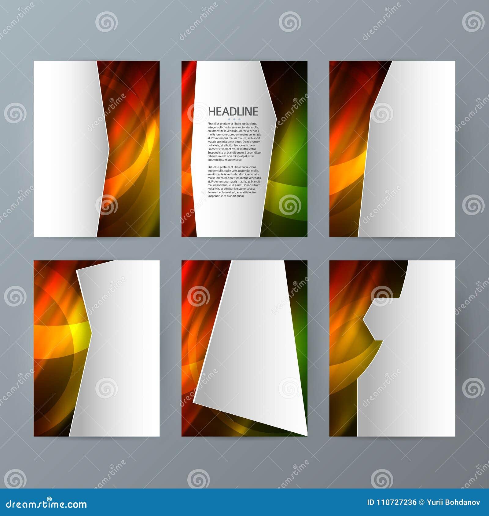 Ställ in för den vertikala varmt glöd effect04 broschyrmodellen för mallar