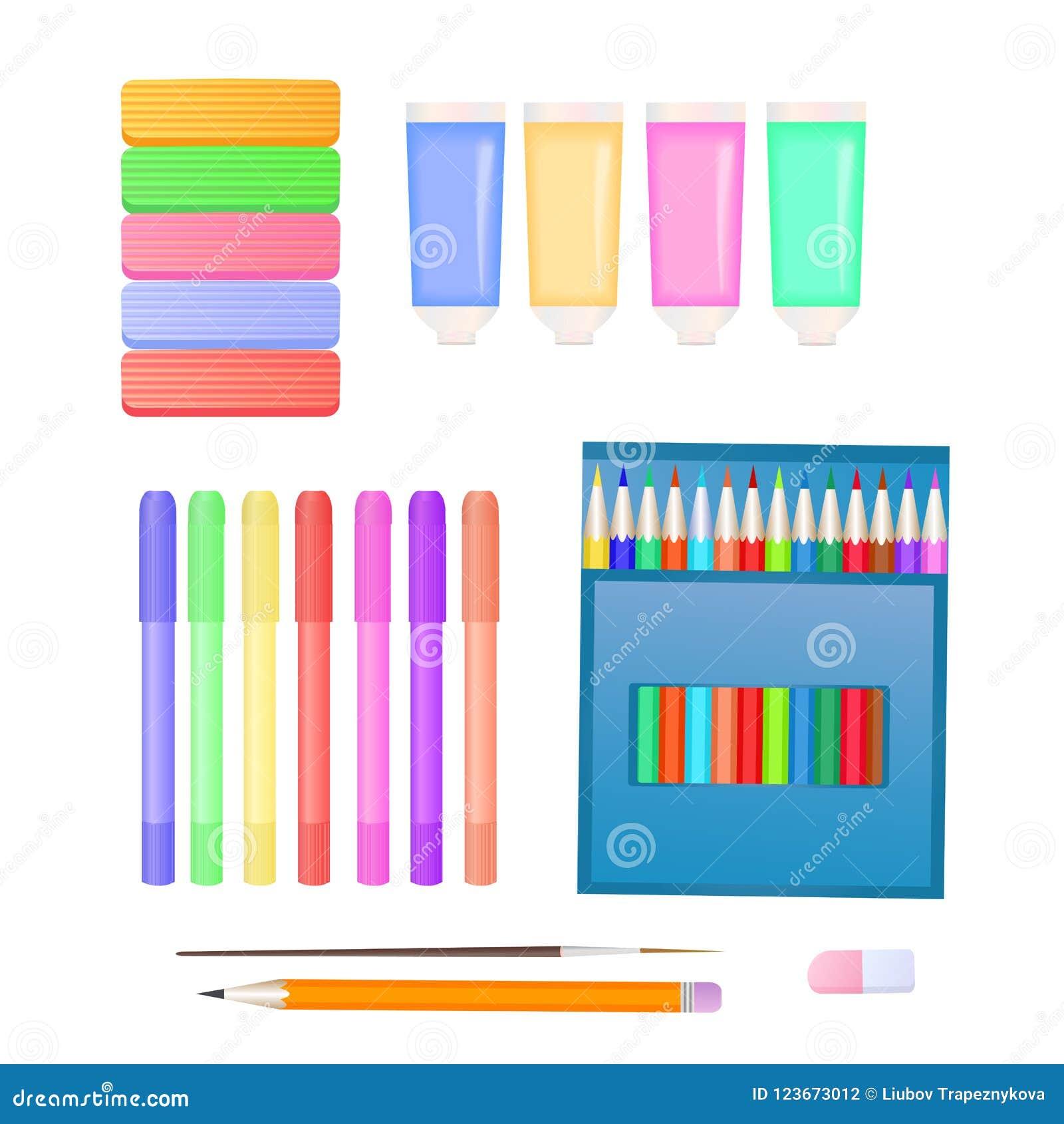 Ställ in för kreativitet för barn` s: plasticine, markörer, målarfärger och färgade blyertspennor