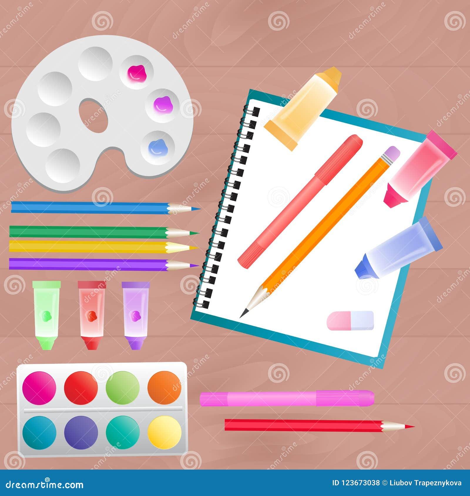 Ställ in för kreativitet för barn` s: vattenfärg, markörer, målarfärger och färgade blyertspennor