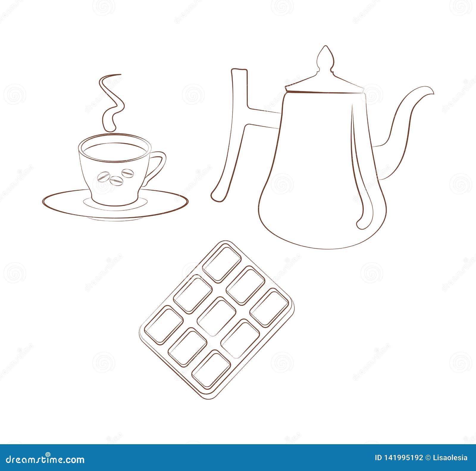 Ställ in för mest breakfest en kopp kaffe med ett tefat, en kaffekruka och choklad på en vit bakgrund Konturemblem