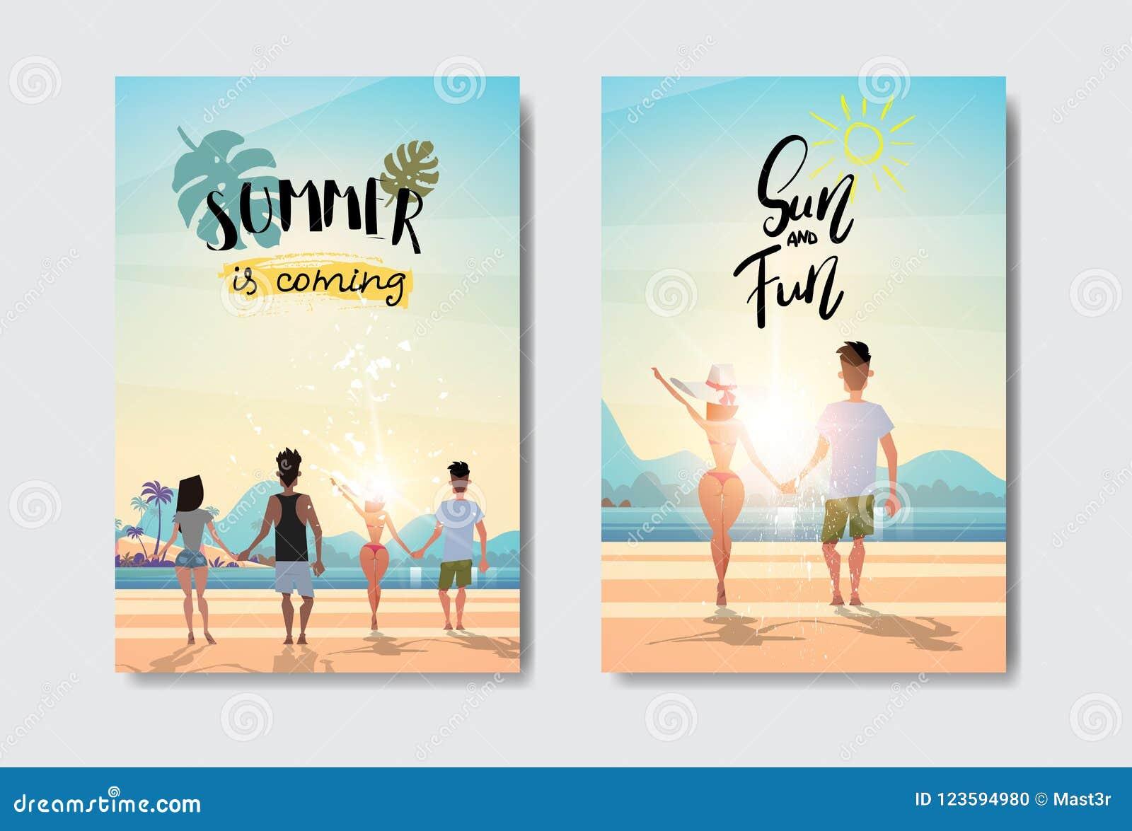 Ställ in händer för innehavet för mankvinnapar som ser etiketten för designen för emblemet för stranden för semestern för sommar