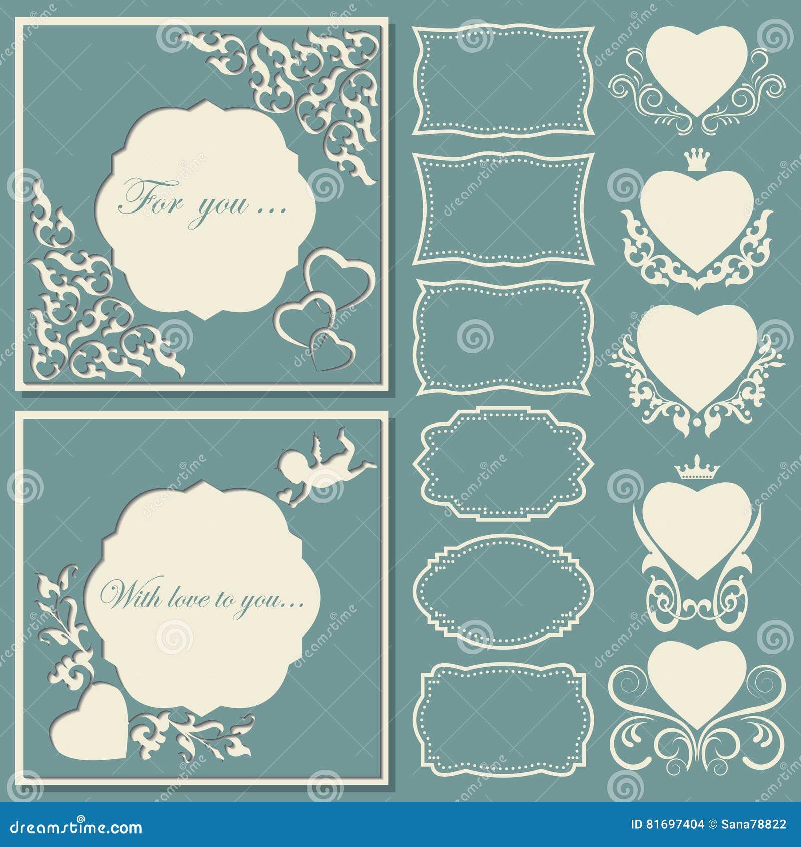 Ställ in hjärtor och ramar av olika former Dekorativt ramsnittpapper