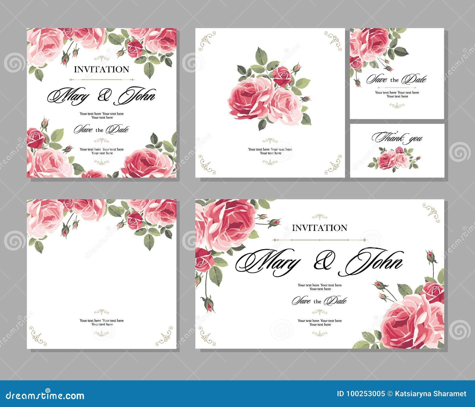 Ställ in kortet för bröllopinbjudantappning med rosor och antika dekorativa beståndsdelar