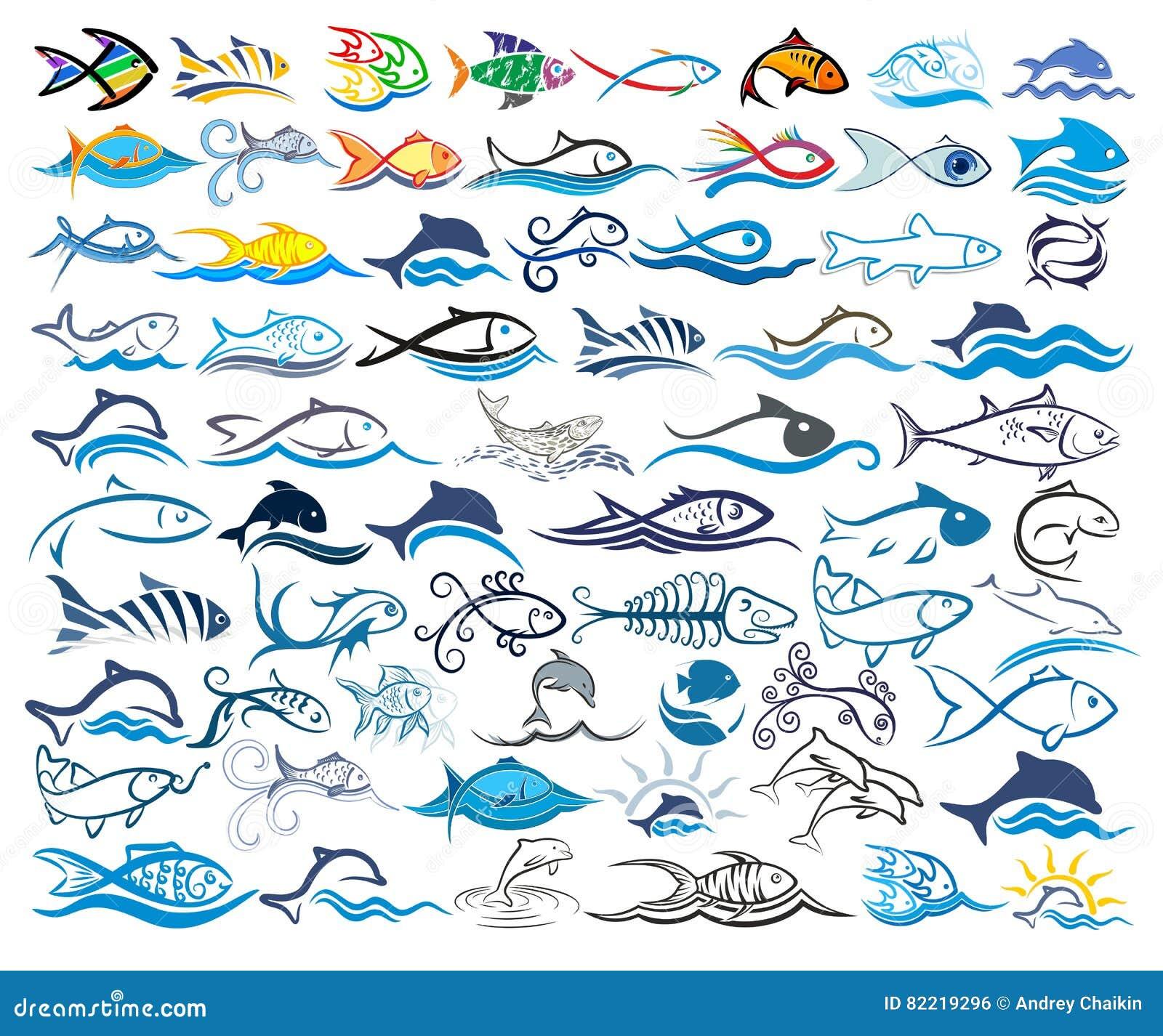 Ställ in logoer med fiskar