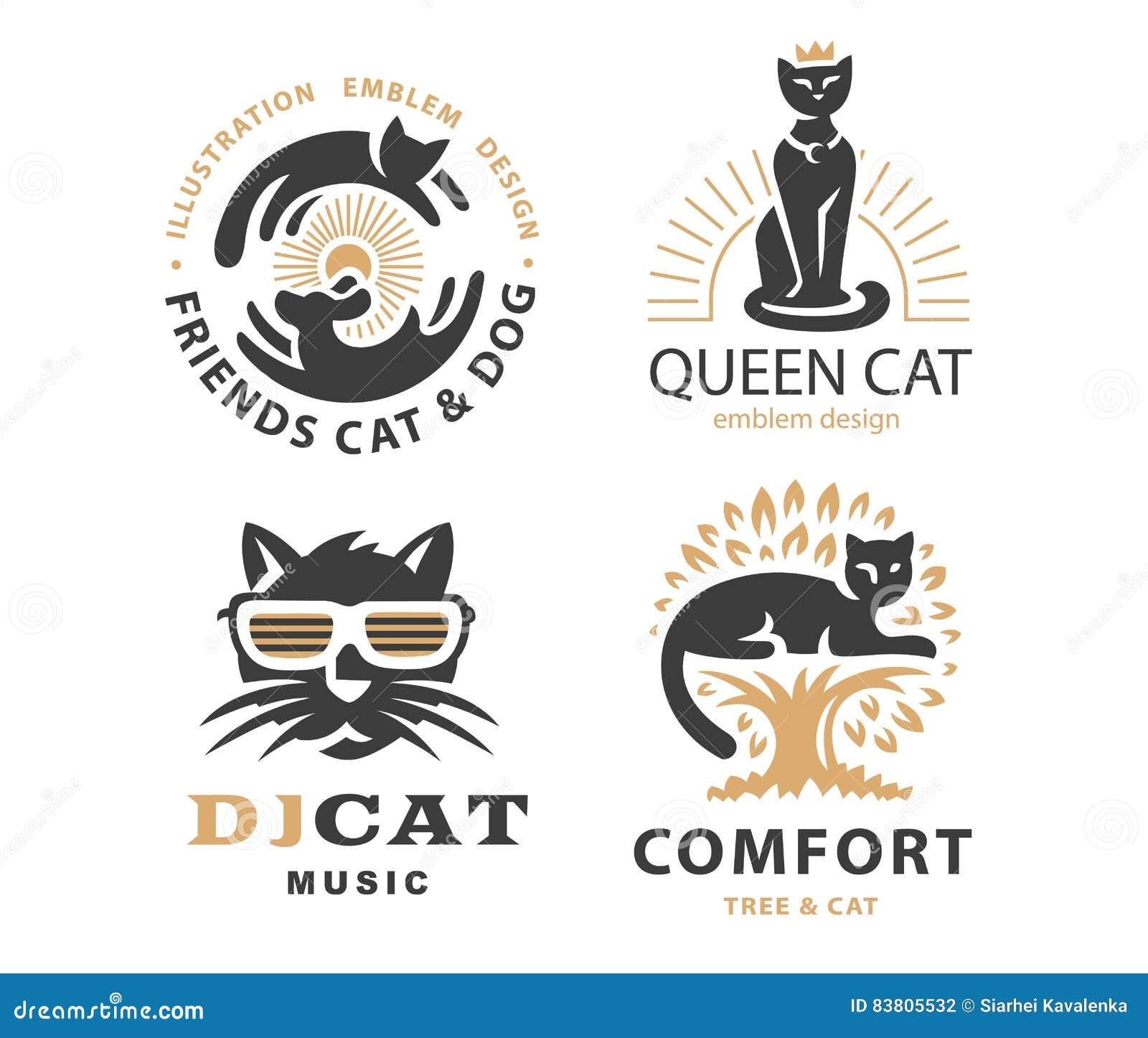 Ställ in logoillustrationen med katter, emblemdesign
