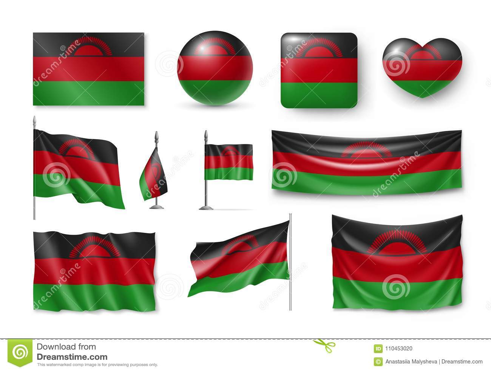 Ställ in Malawi flaggor, baner, baner, symboler, realistisk symbol
