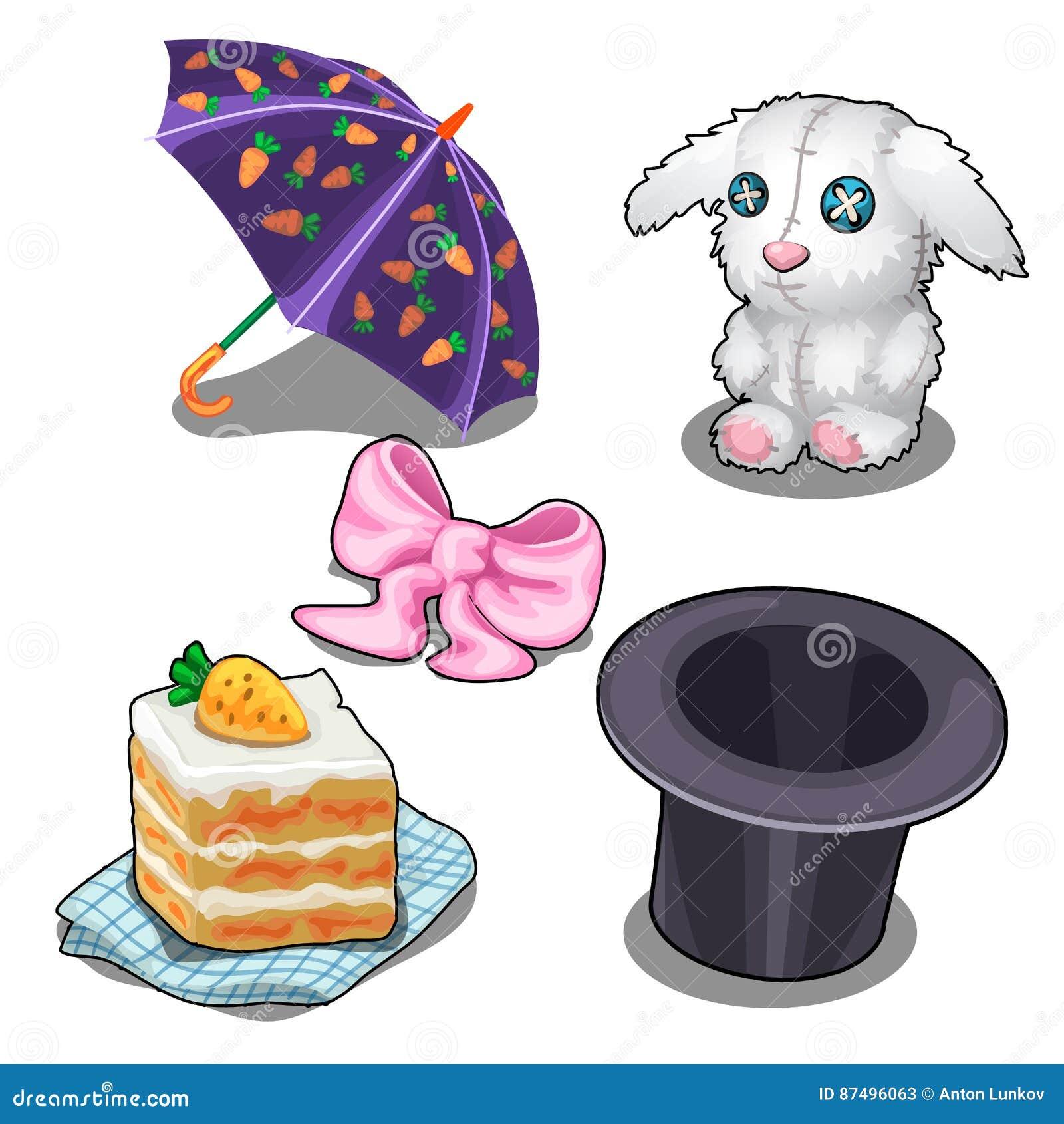 Ställ in med kaninen, morotkakan, hatten och andra objekt