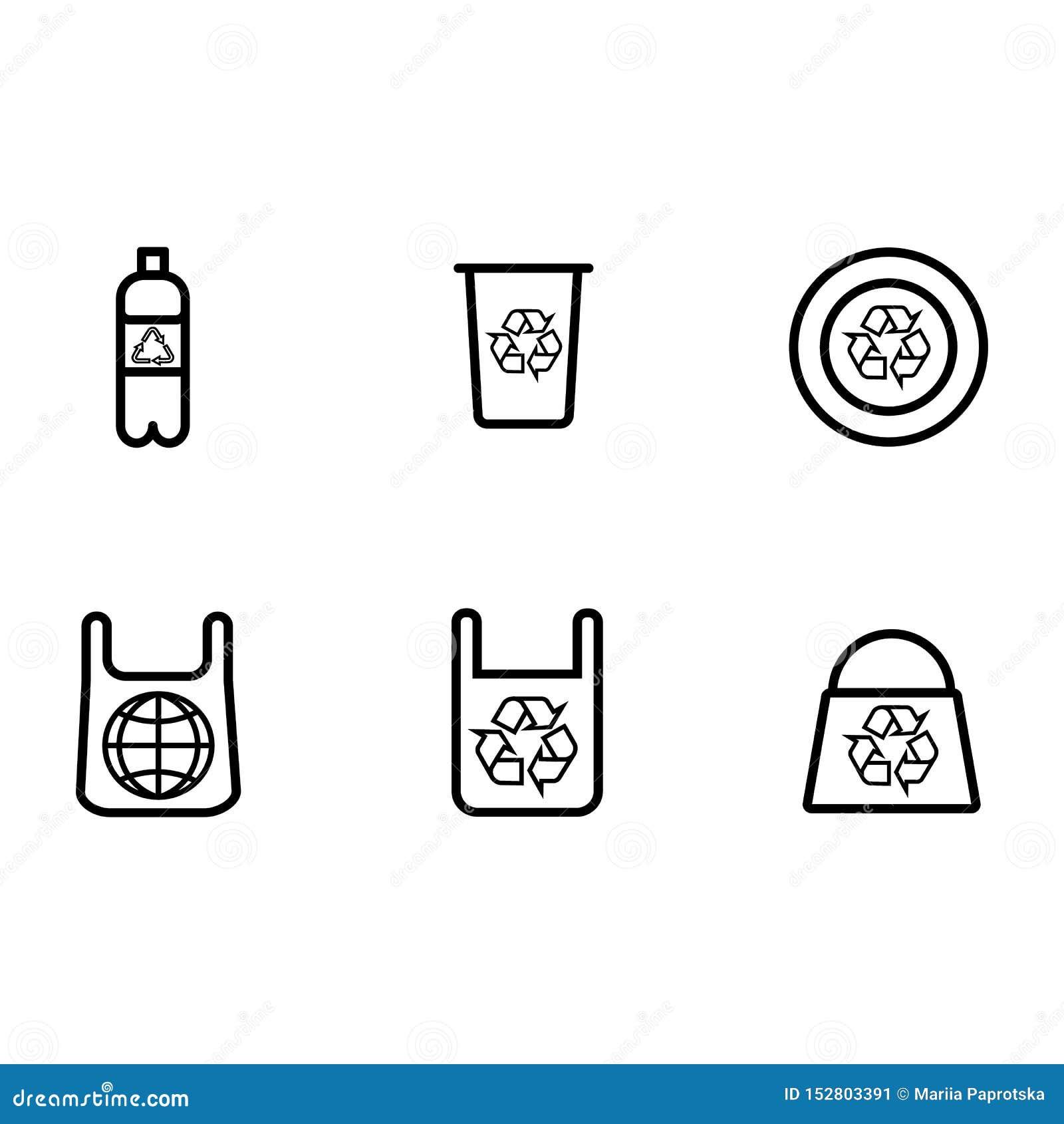 Ställ in symbolen av plast- produkter med en fläck av återanvändning för olik design