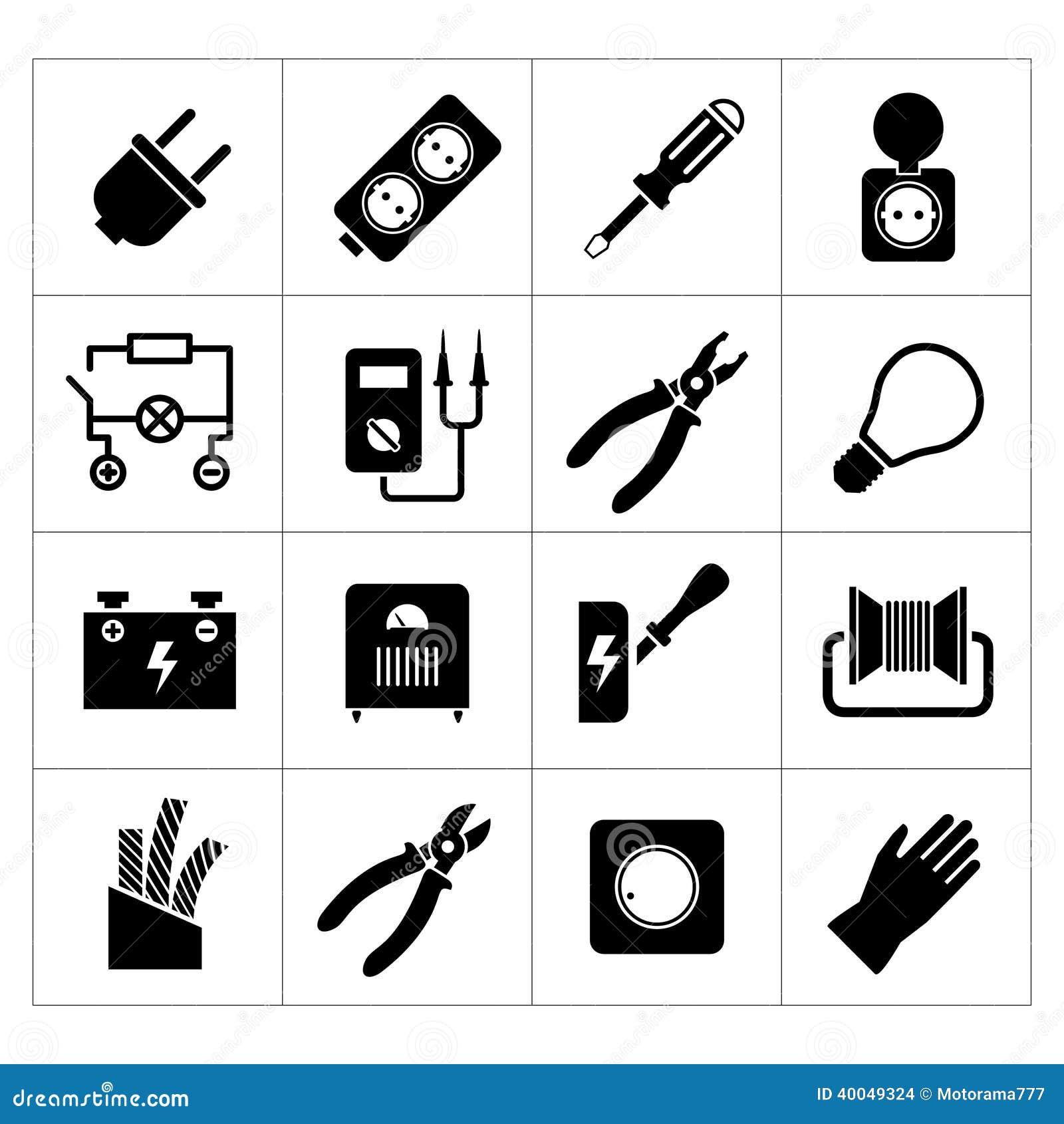 Ställ in symboler av elektricitet