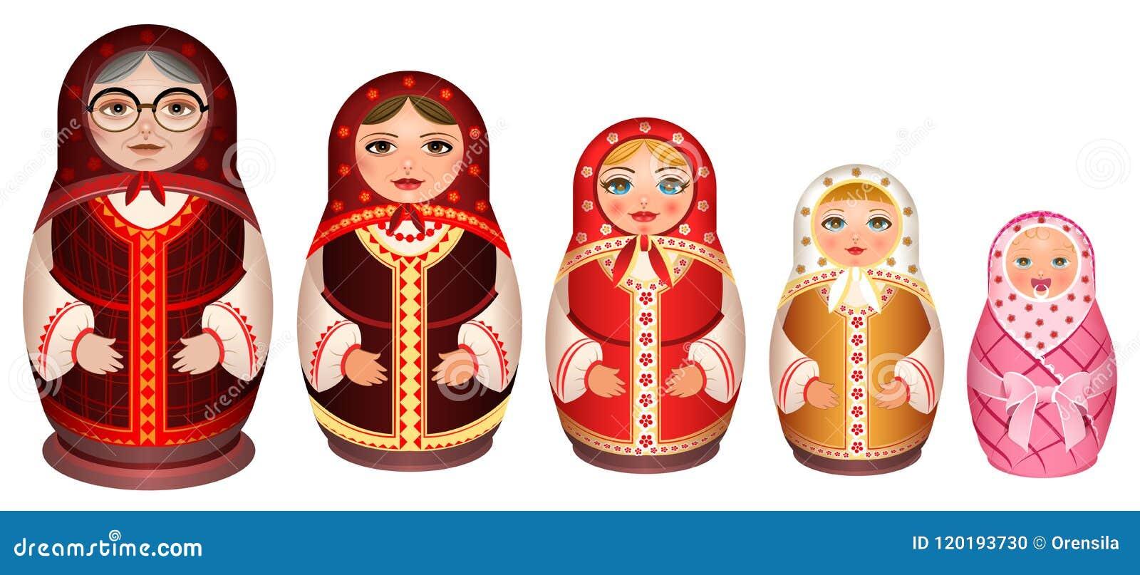 Ställ in träbygga bodockan för ryss Traditionell retro souvenir från Ryssland