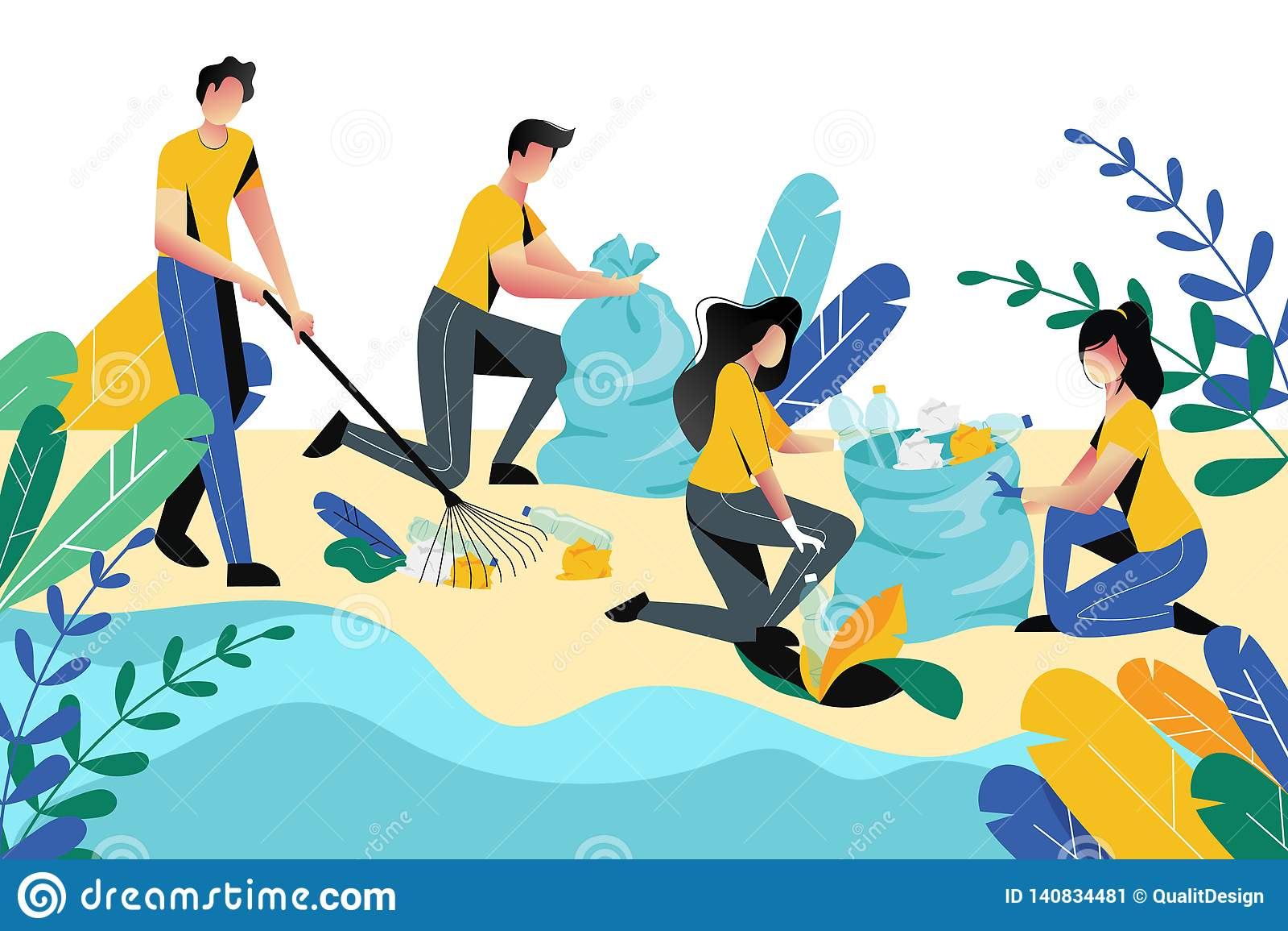 Ställa upp som frivillig socialt begrepp för välgörenhet Ställa upp som frivillig rengörande avskräde för folk på strandområde, e
