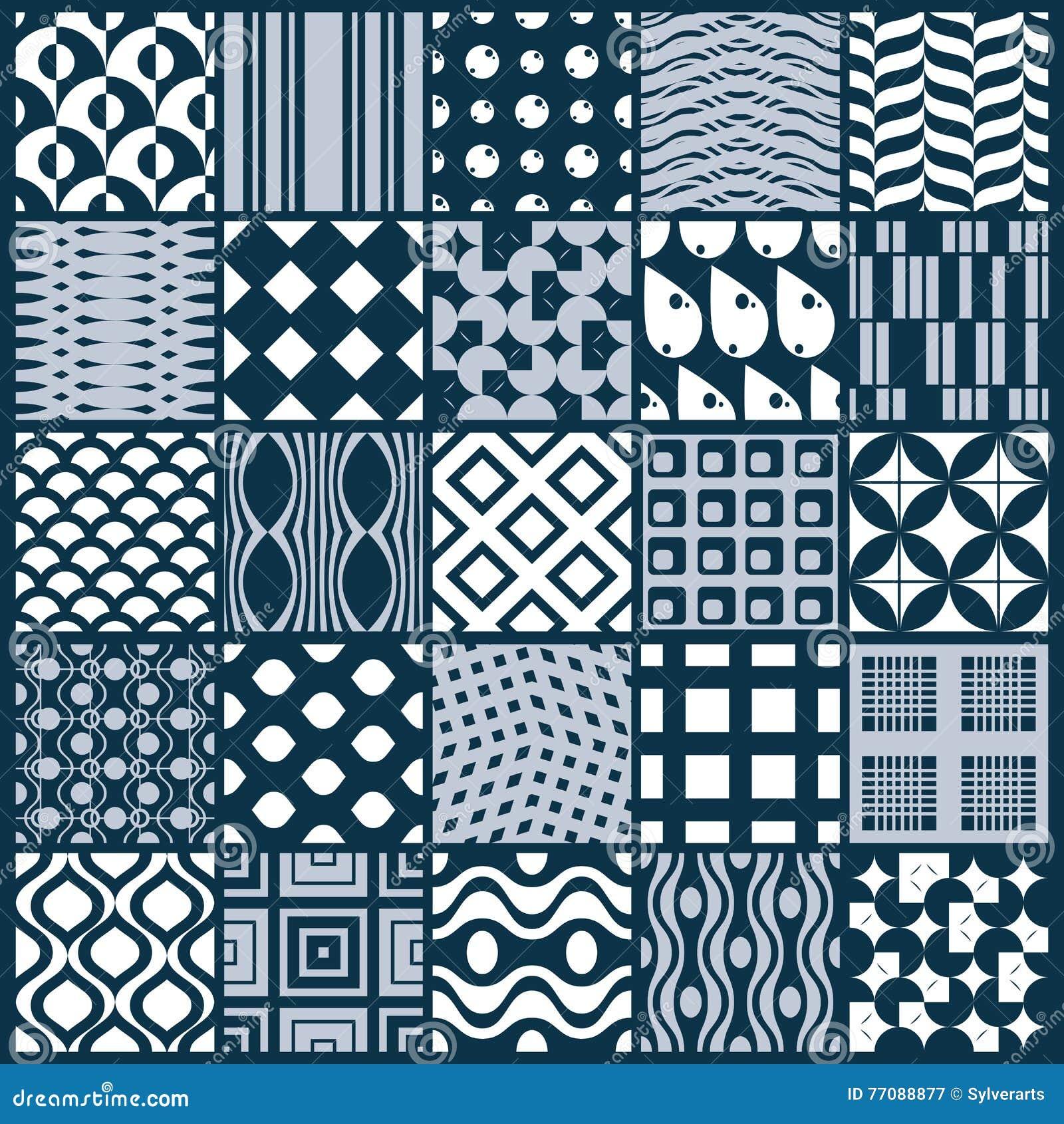 Ställde dekorativa svartvita sömlösa bakgrunder in för vektor, geomet