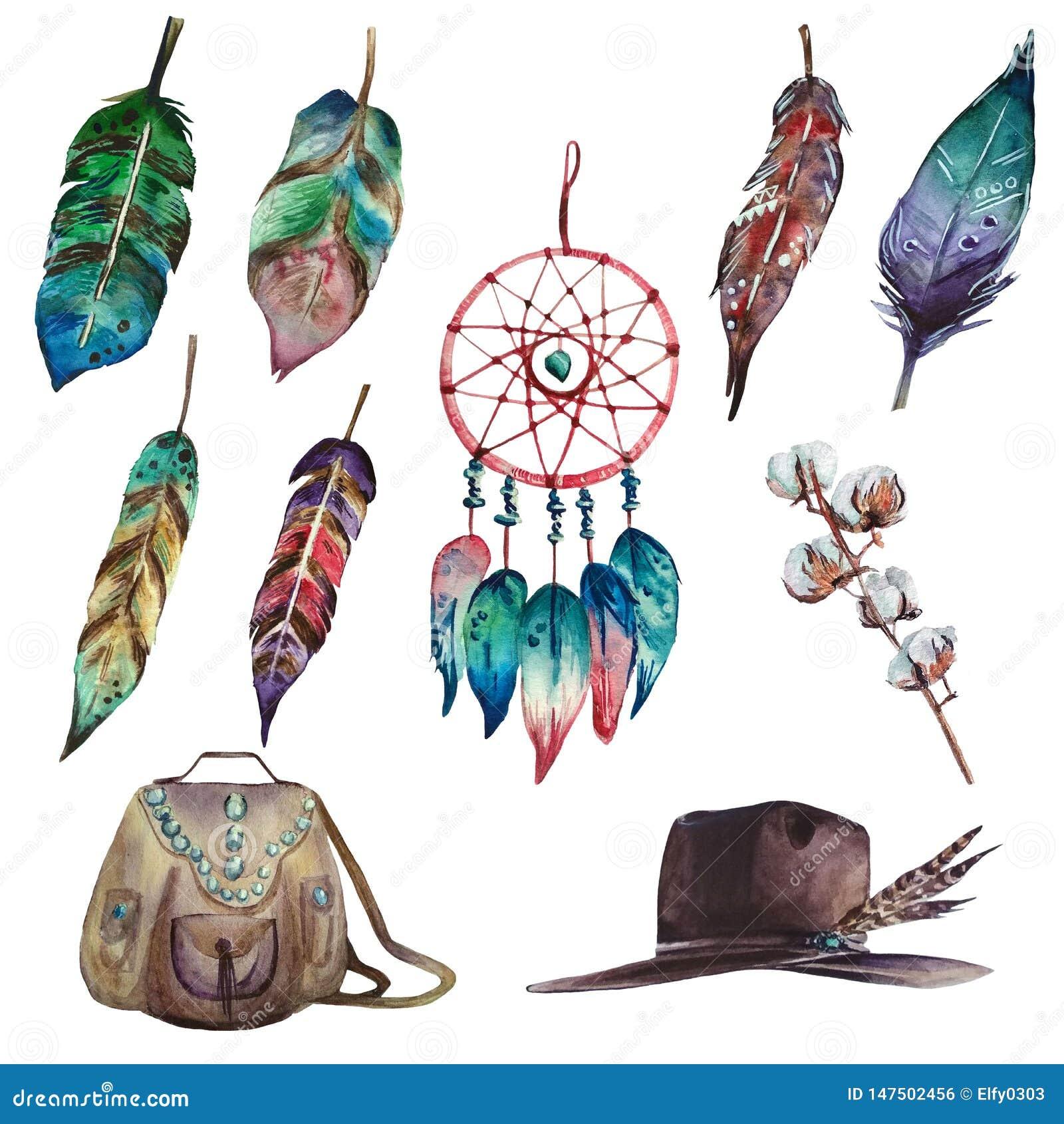 Ställde den färgrika bohoen in för vattenfärg av den dröm- stopparen, fjädrar, bomullsfilial, påse och hatten