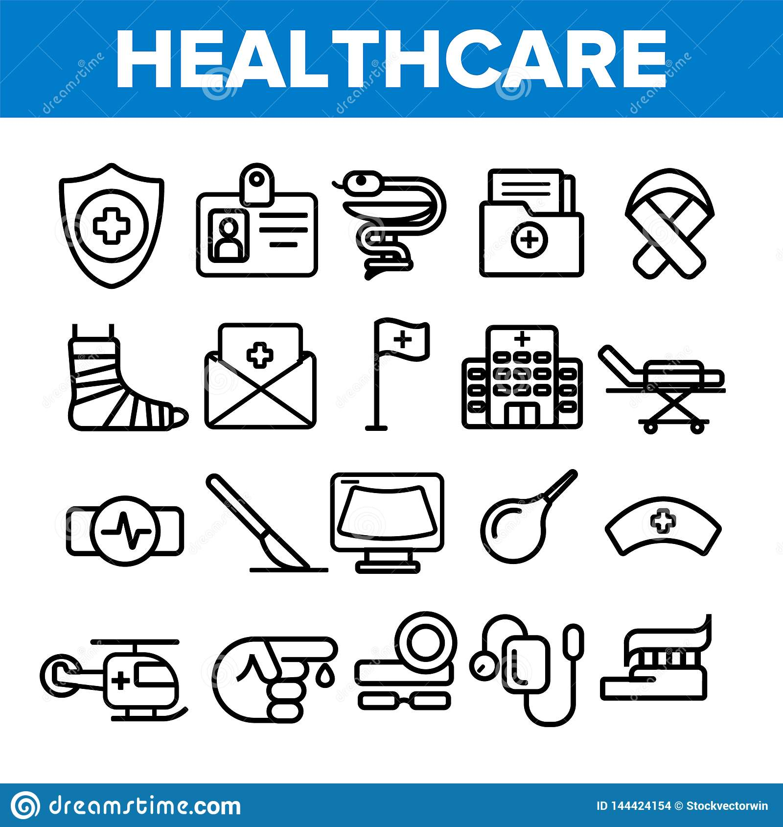 Ställde linjära vektorsymboler in för sjukvård den tunna pictogramen