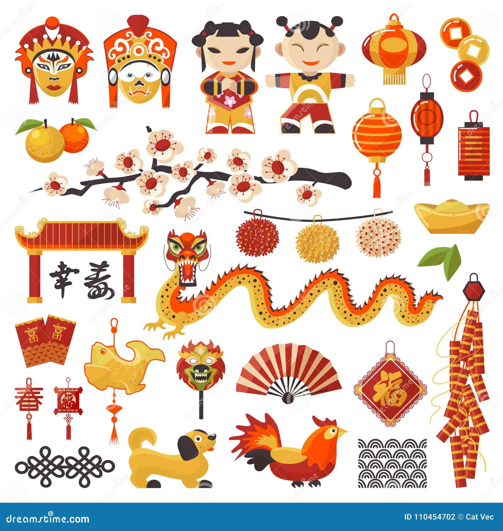 Ställde symboler in för vektor Kina för det nya året dekorativ ferie med bra lycka för text Kinesisk traditionell symboldrake, hu