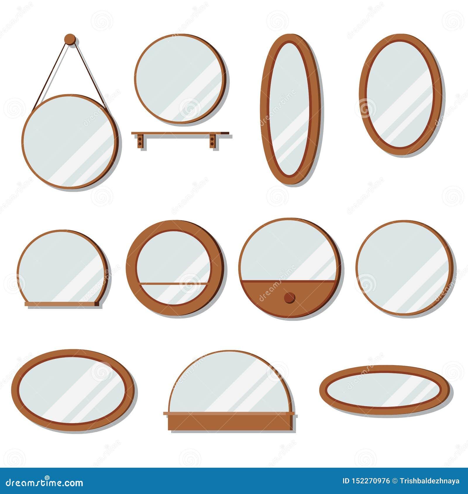 Ställde vektorträramspeglar in av rund form