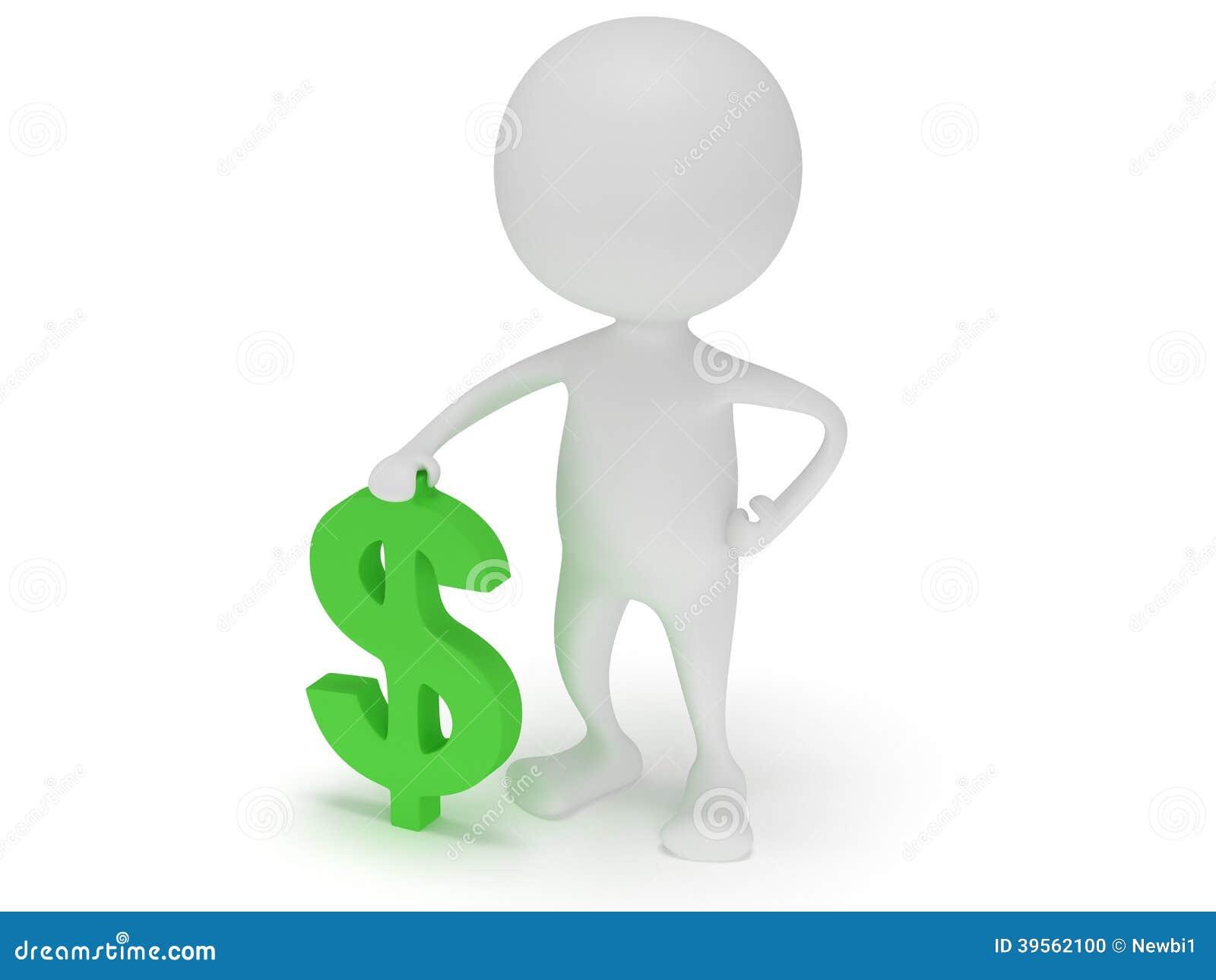Ställning för vit man 3d med det gröna dollartecknet