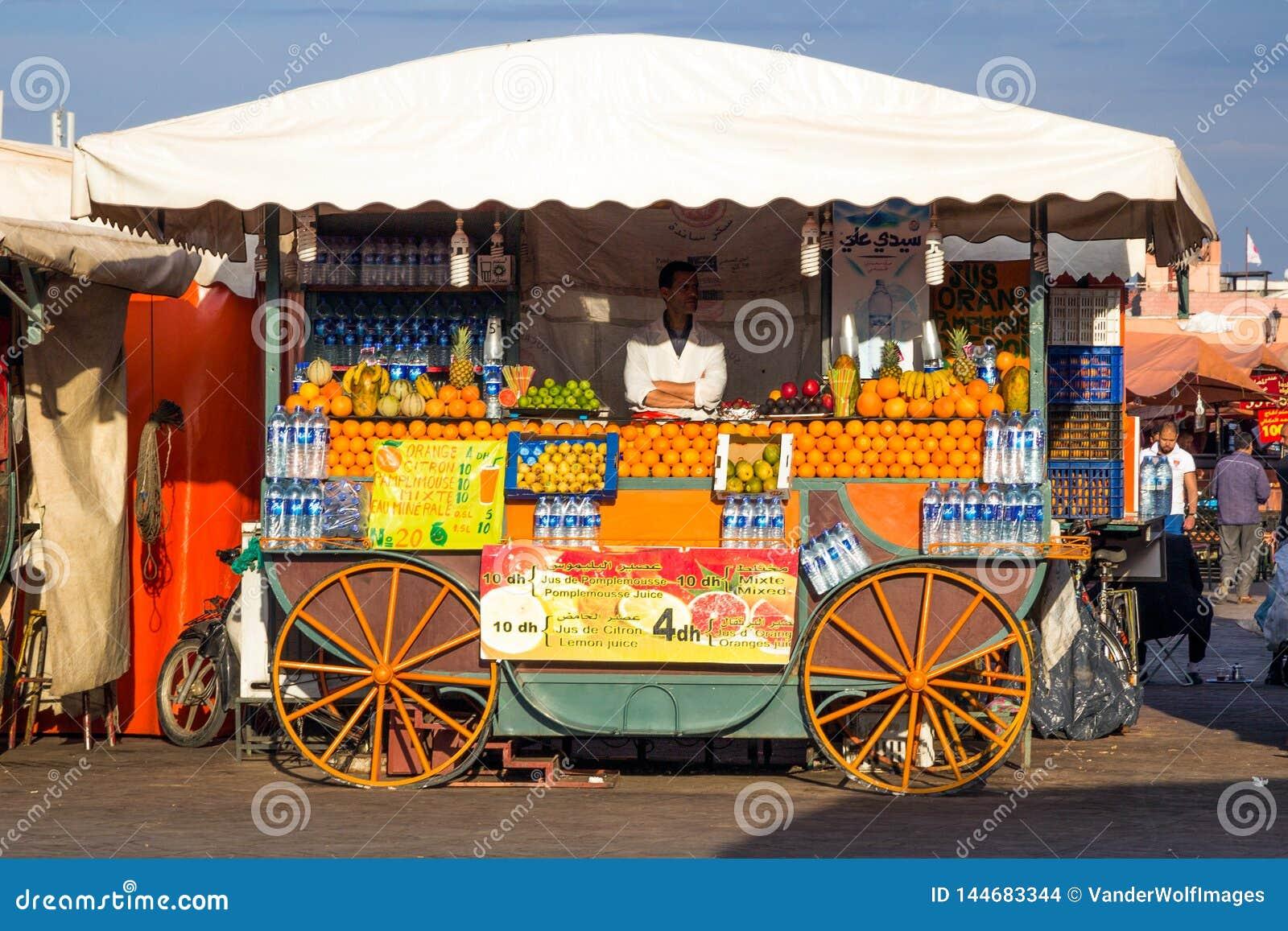 Ställning Marrakesh Marocko för ny mat