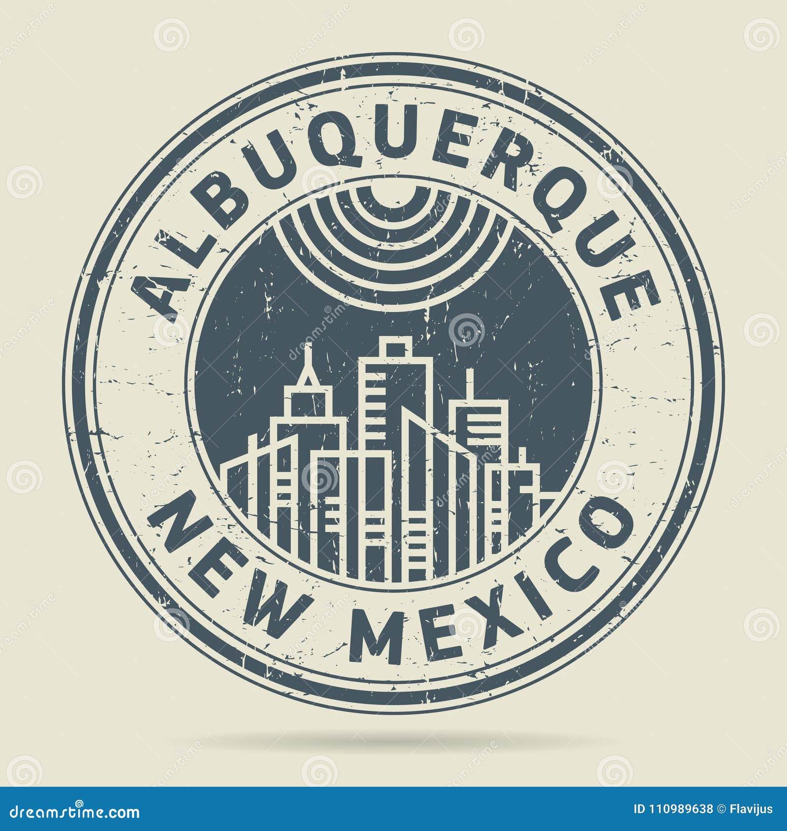 Stämpel eller etikett för Grunge rubber med text Albuquerque som är ny - Mexiko