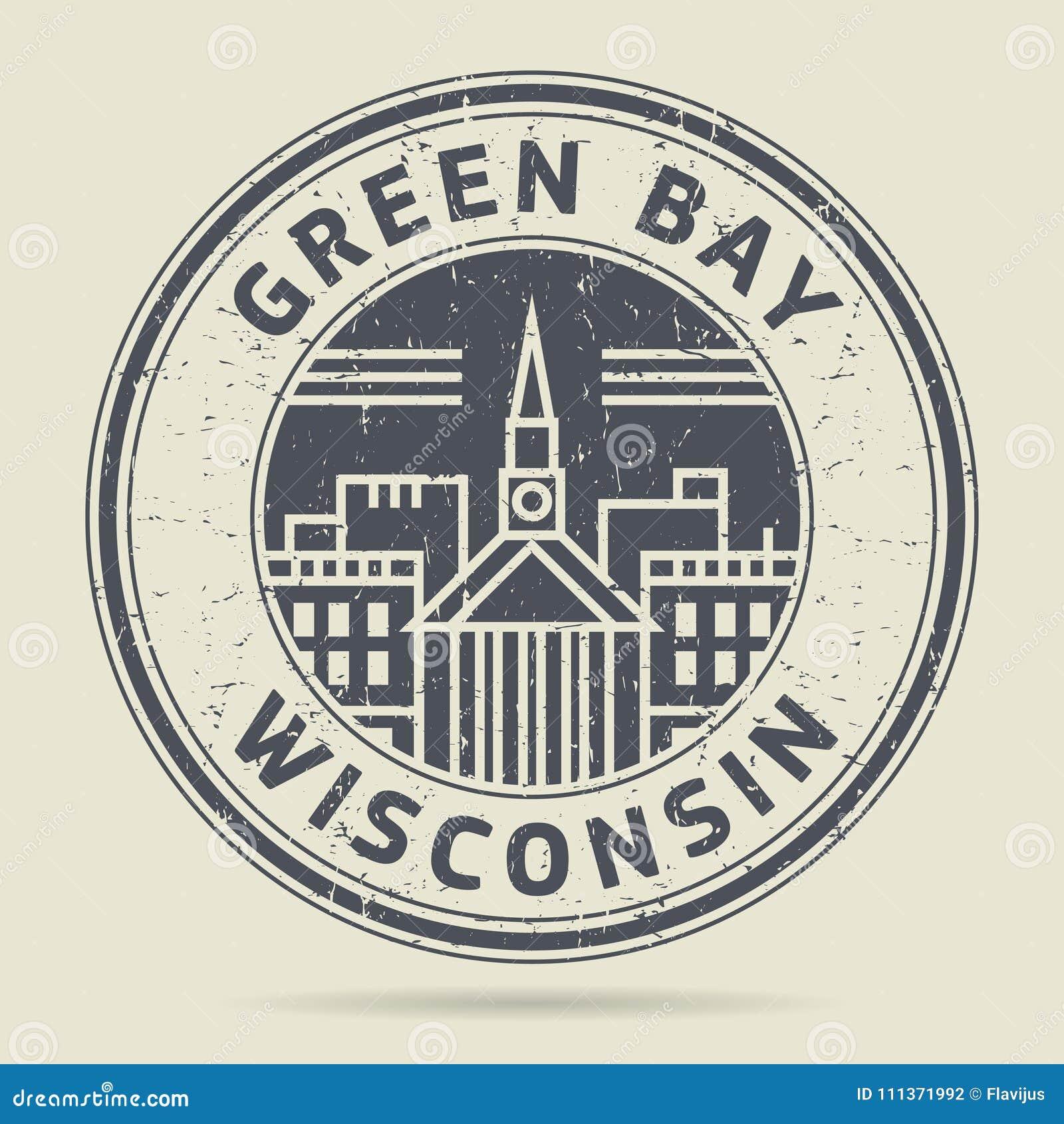 Stämpel eller etikett för Grunge rubber med textGreen Bayen, Wisconsin