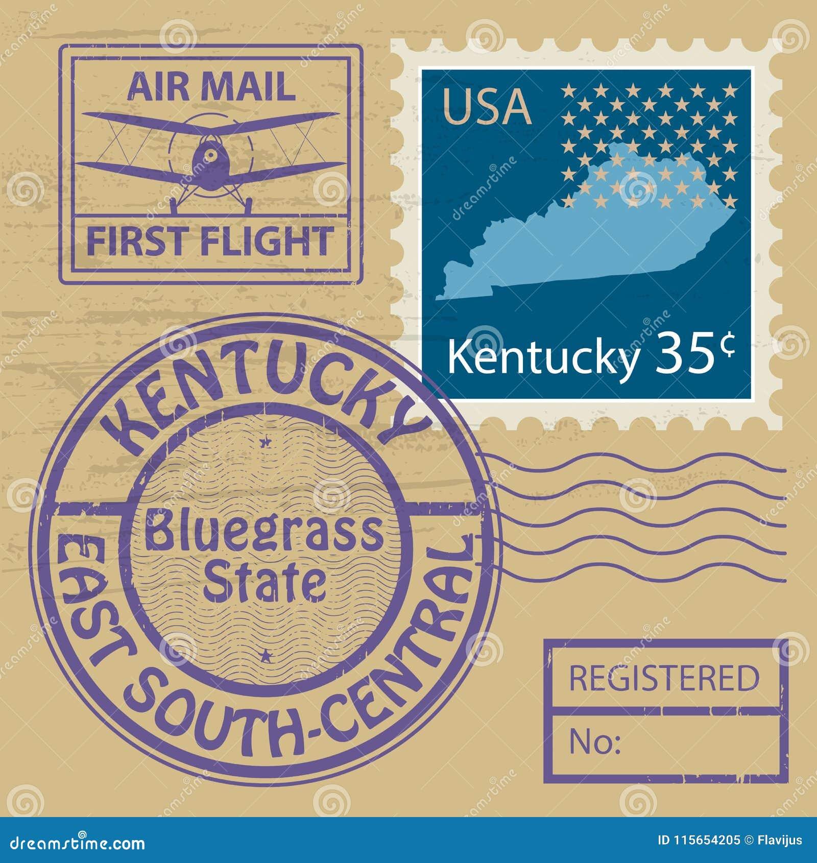 Stämpeluppsättning med namn av Kentucky