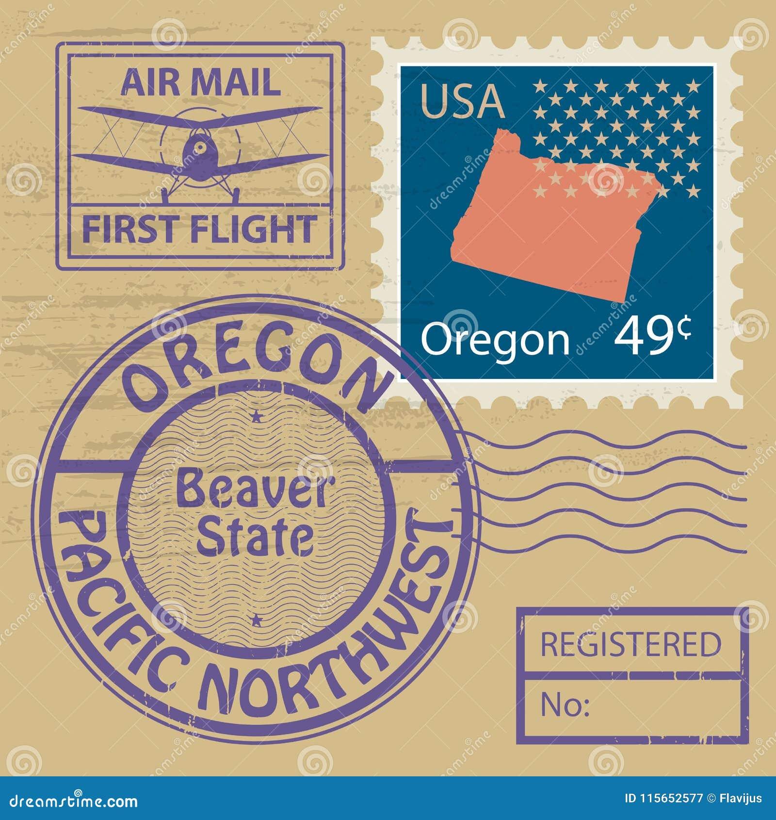 Stämpeluppsättning med namn av Oregon