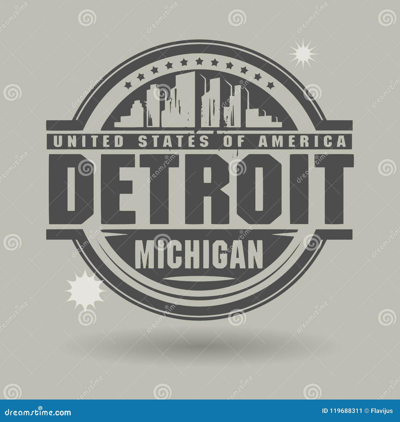 Stämpla eller etiketten med text Detroit, Michigan inom