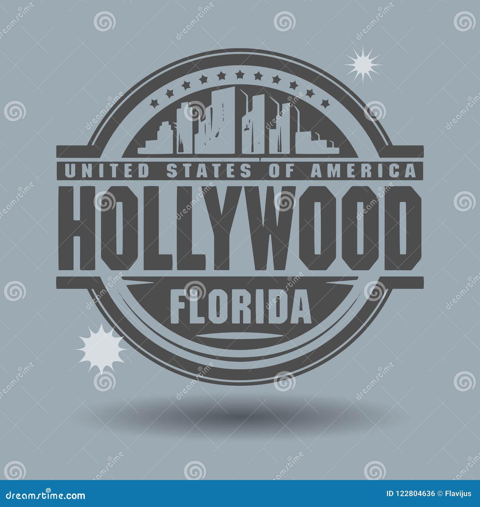 Stämpla eller etiketten med text Hollywood, Florida inom