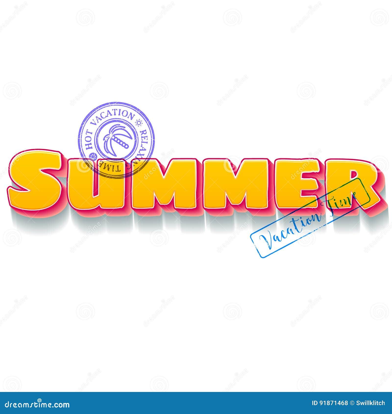 Stämplar themed bokstäver för sommarsemestern med loppblått