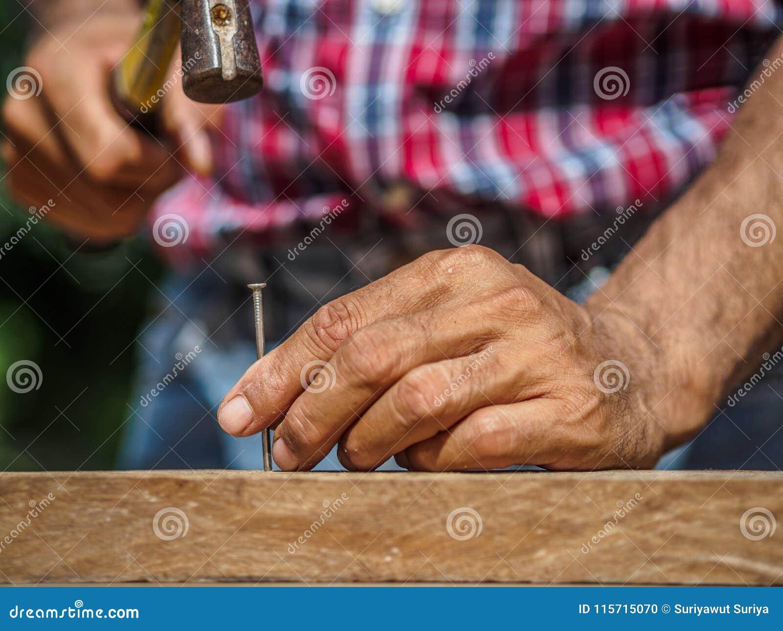 Stäng sig upp av att bulta en spika in i träbräde yrke karp