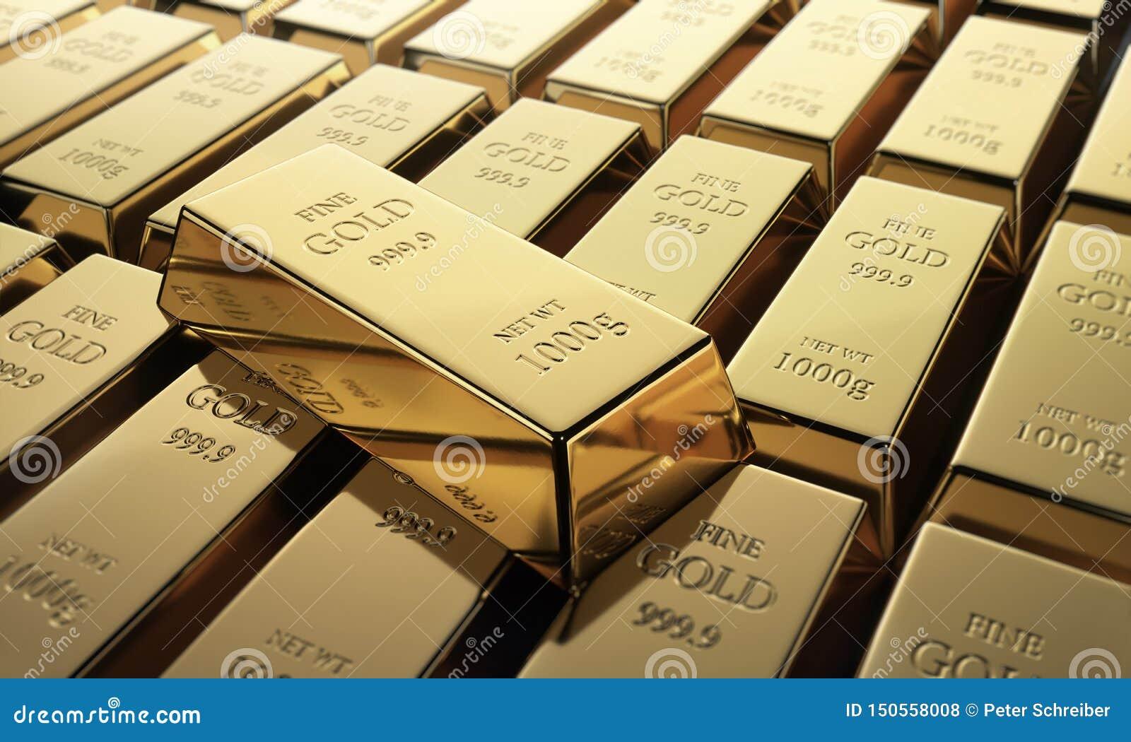 Stäng sig upp av en samling av fina guld- stänger