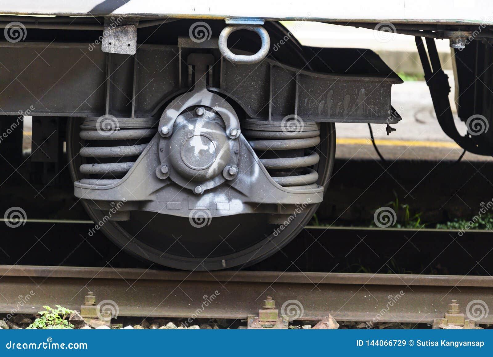 Stäng sig upp av ståldrevhjulet på railtrack