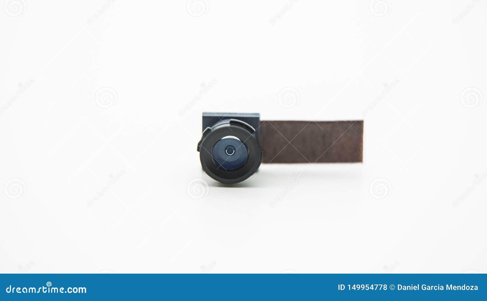 Stäng sig upp på en kameraenhet för mobiltelefon Closeup av Smartphone Lens