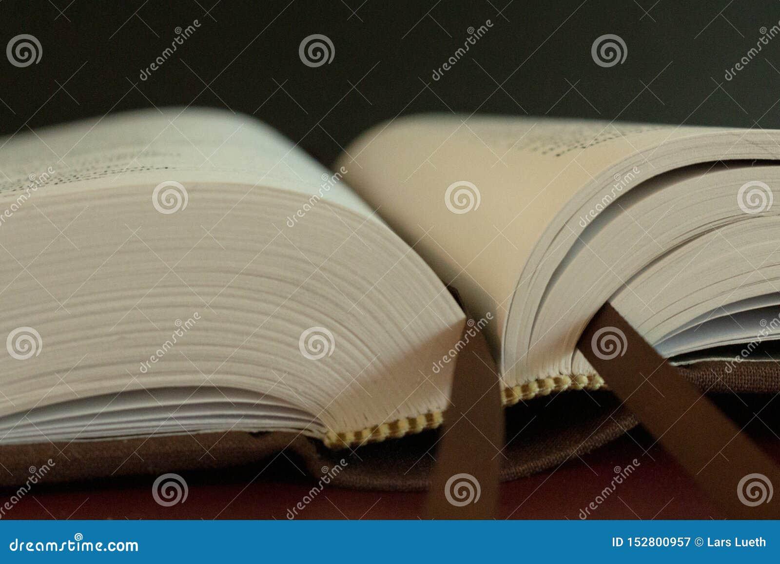 Stäng upp makroen av bokmärken av en öppen bok