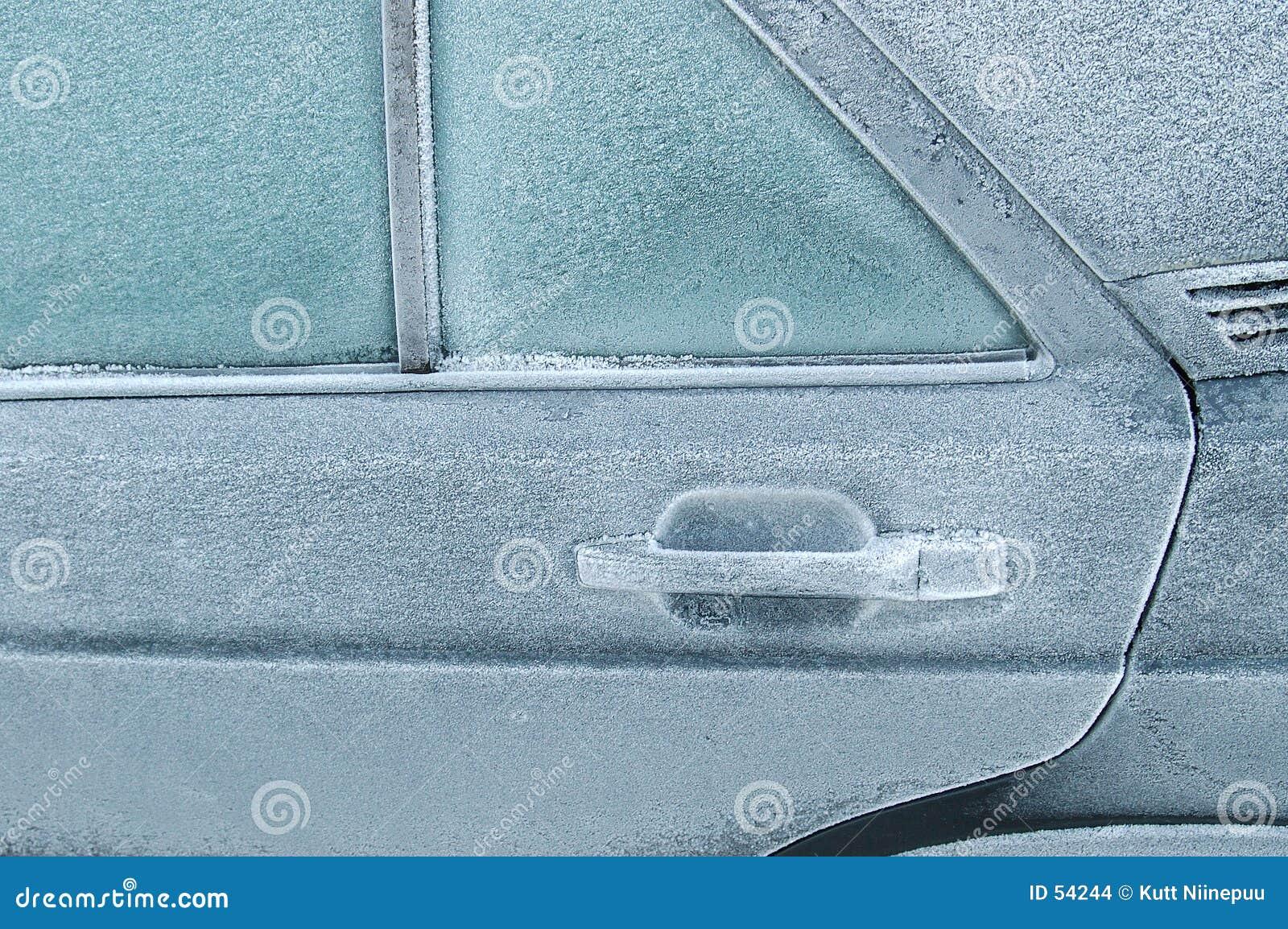 Stängd bakdörr som frysas