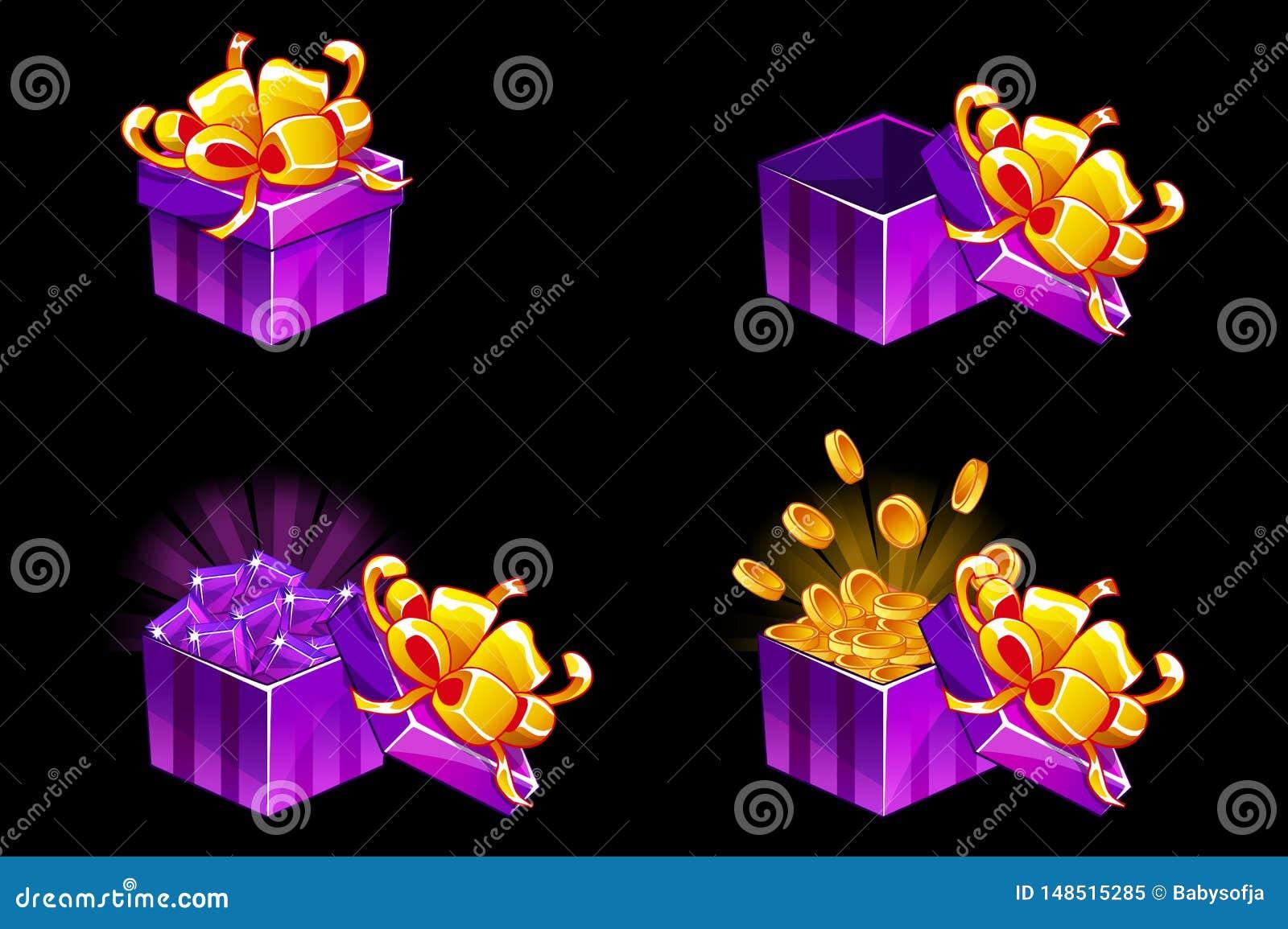 Stängd gåvaask som är öppen och Isometrisk gåva för tecknad film med mynt och ädelstenar, vektorbonussymboler för modiga resurser