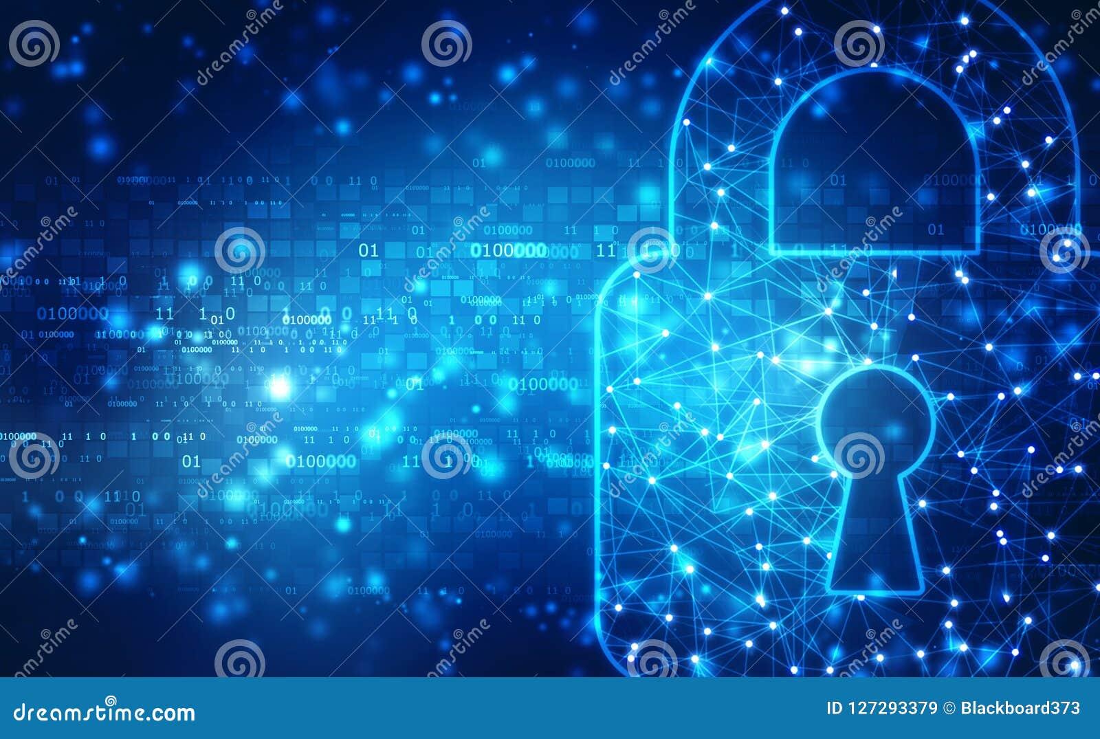 Stängd hänglås på digital bakgrund, Cybersäkerhet och internetsäkerhet