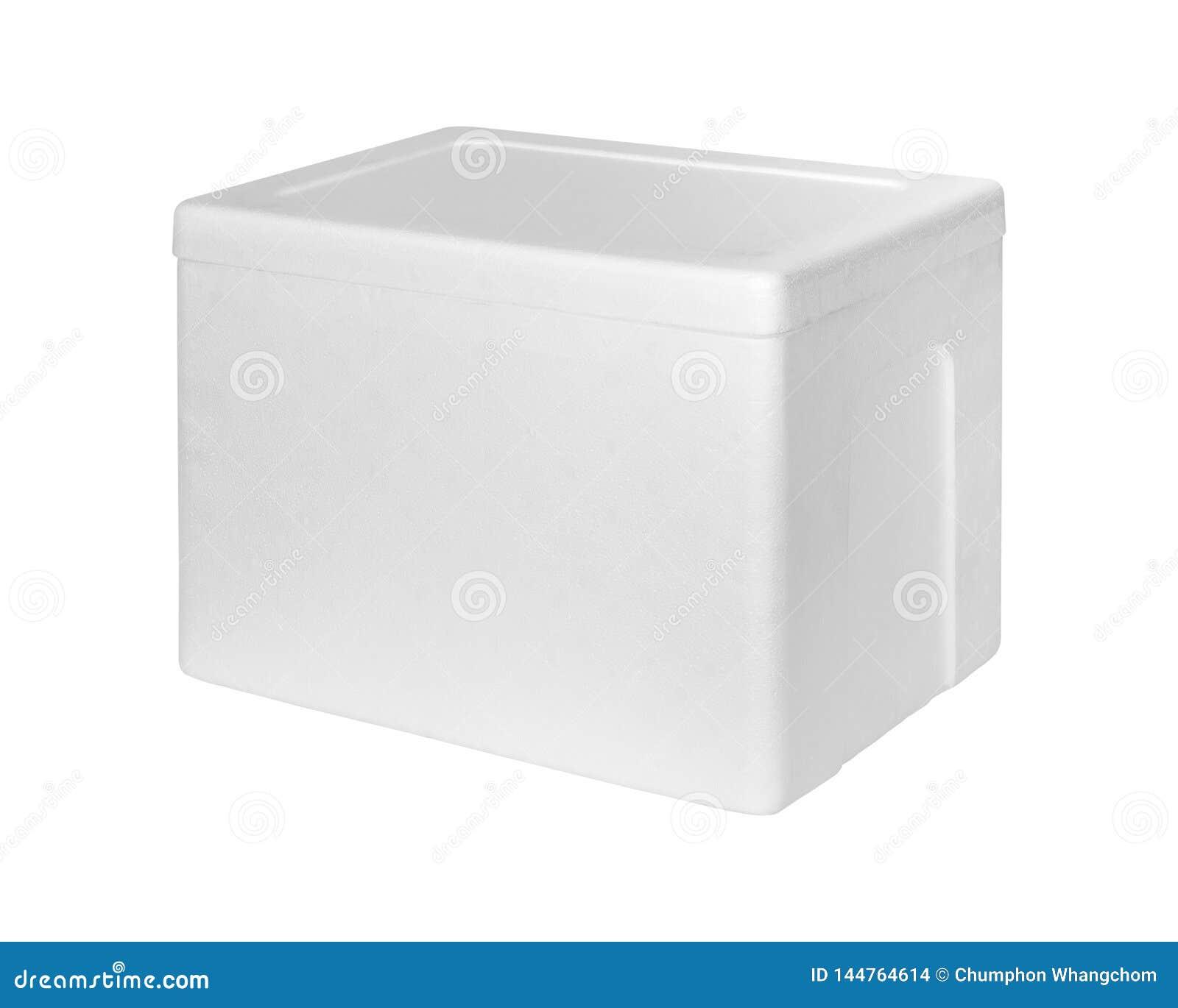 Stängd polystyrenlagringsask som isoleras på vit bakgrund Isoleringsask för leverans Snabb bana