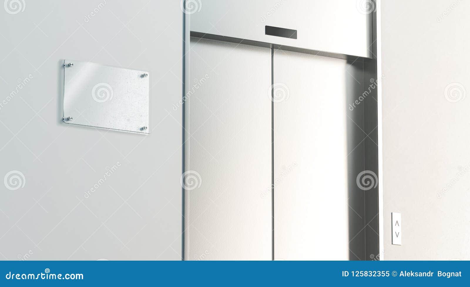 Stängde near silver för den tomma signagen golvinre för hissen i regeringsställning