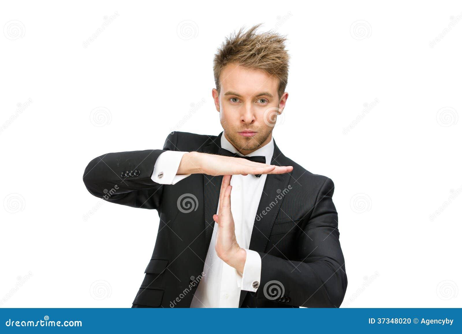 Stående av cheftid som gör en gest ut