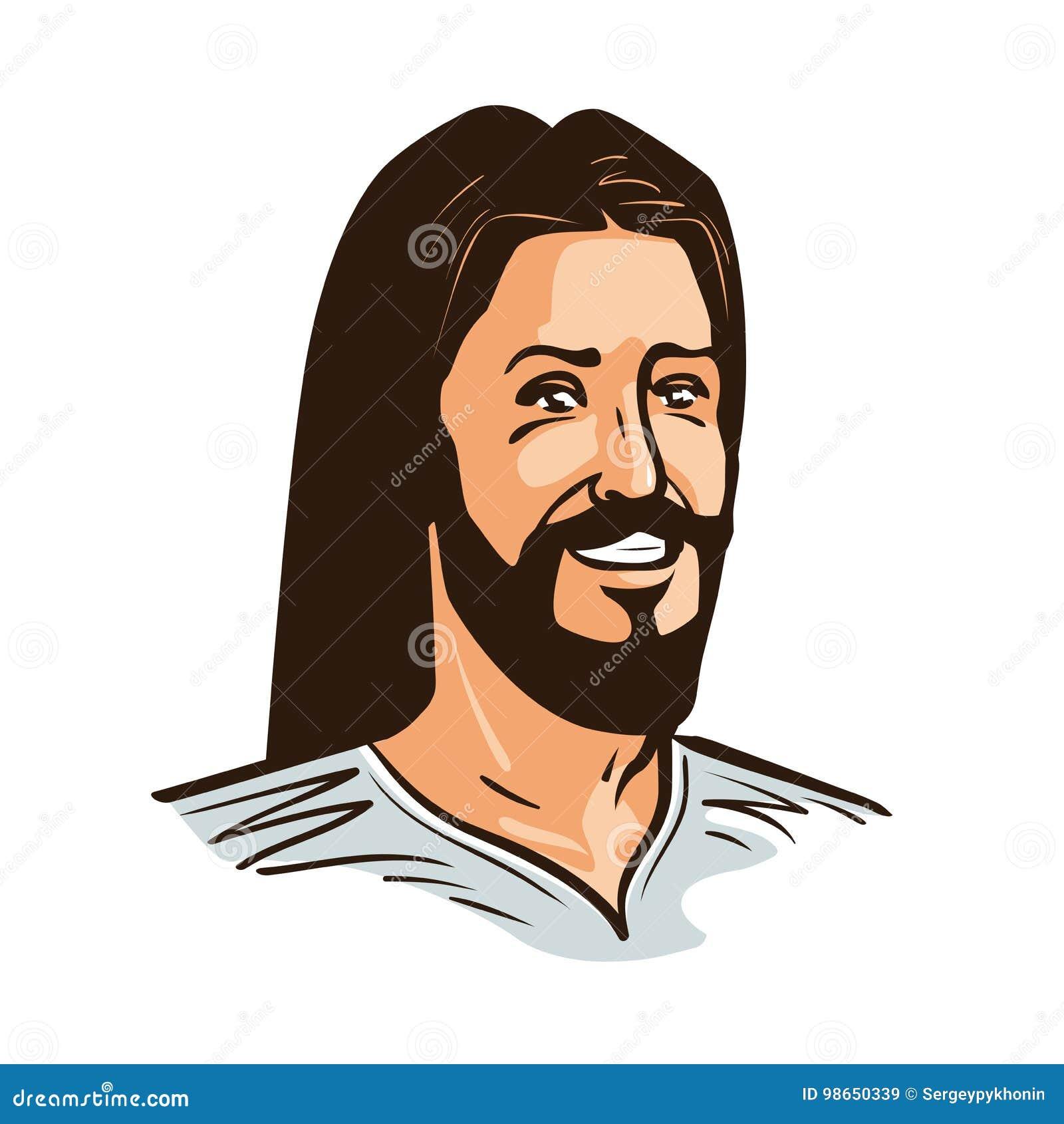 Stående av den lyckliga Jesus Christ Cartoon vektorillustrationen