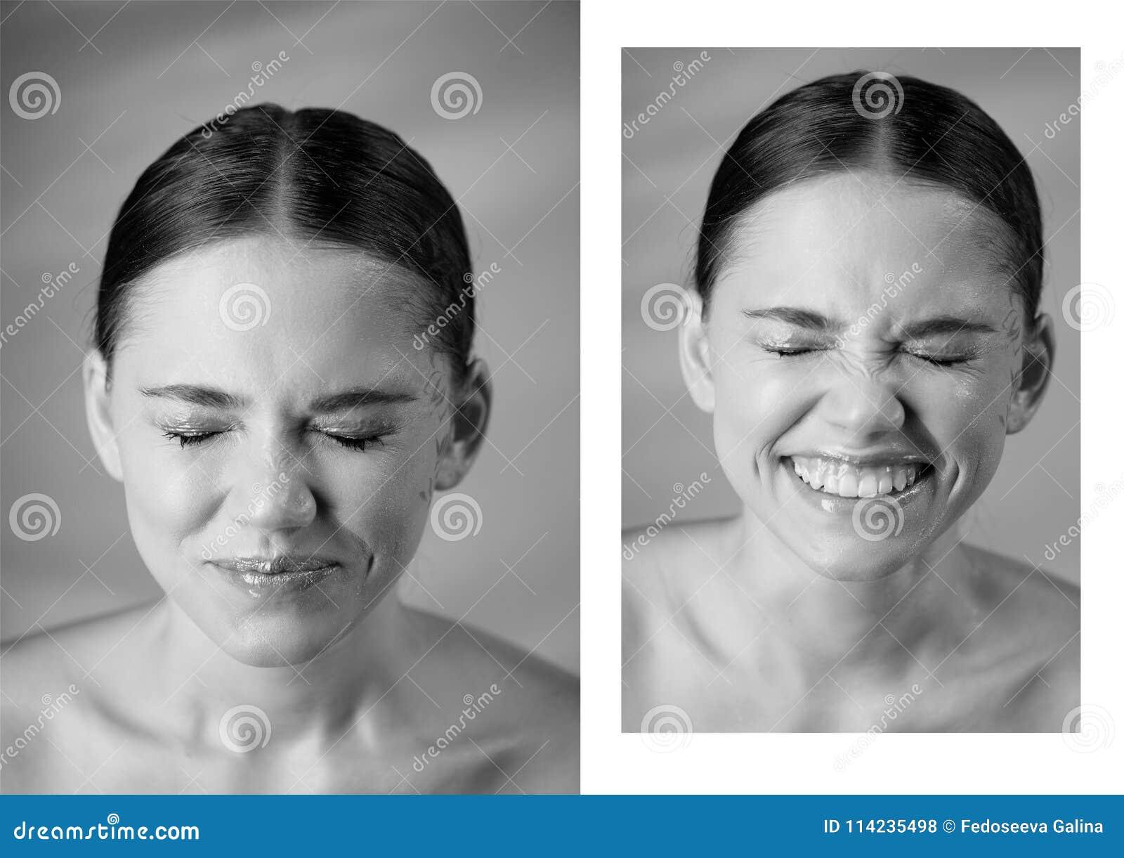 Stående av den unga härliga flickan i studio, med yrkesmässig makeup Skönhetskytte emotionell stående näsan rynkade