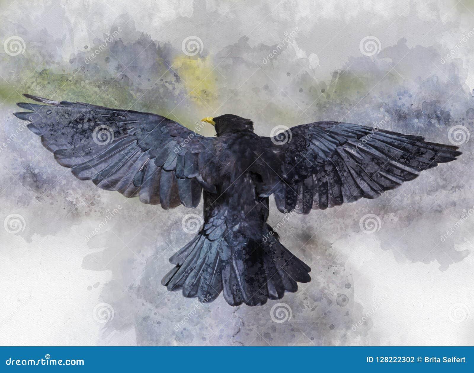 Stående av en flyggalandefågel, vattenfärgmålning