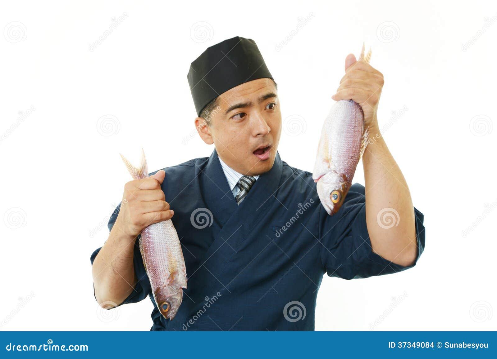 Stående av en sushikock