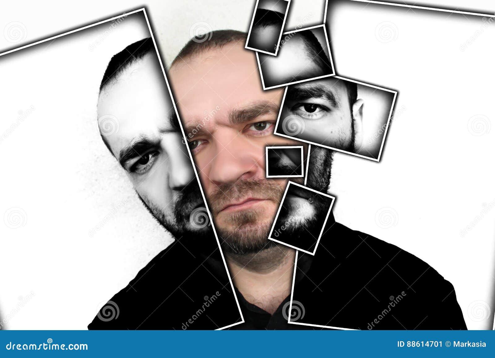 Stående av ilskna män på en grå bakgrund